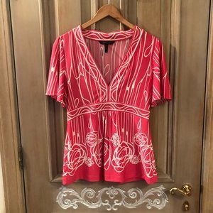 BCBG MAXAXRIA Pink Blouse with White Floral Design